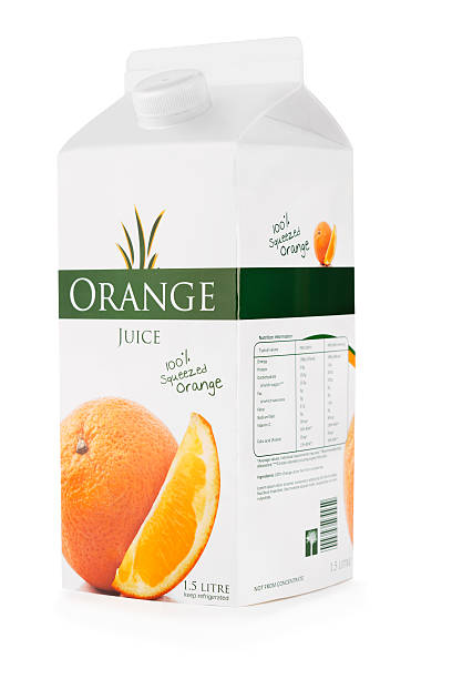 Carton of orange juice with clipping path stock photo
