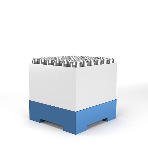 cartonboard container with cans stock photo