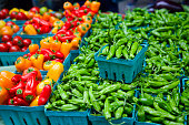 Farmer's market pimiento de Padron peppers and cherry tomatoes