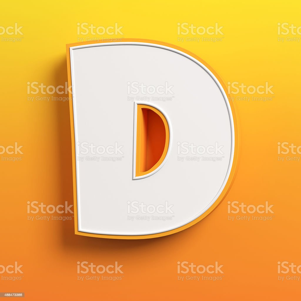 cartoon 3d font letter D stock photo
