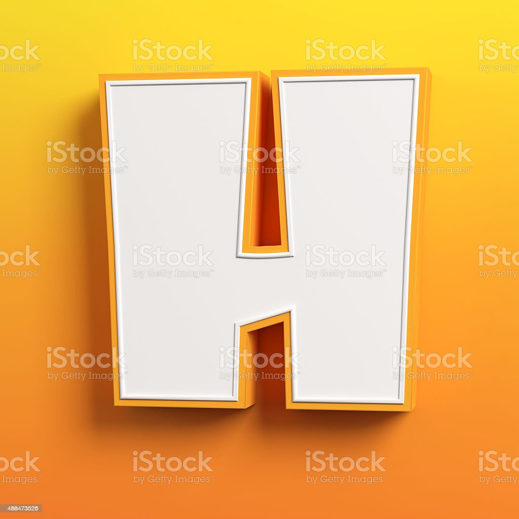 cartoon 3d font letter H stock photo