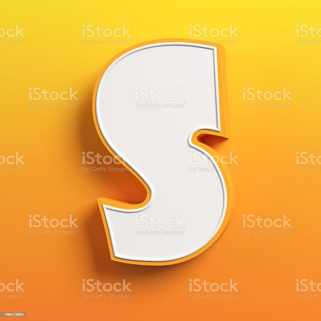 cartoon 3d font letter S stock photo