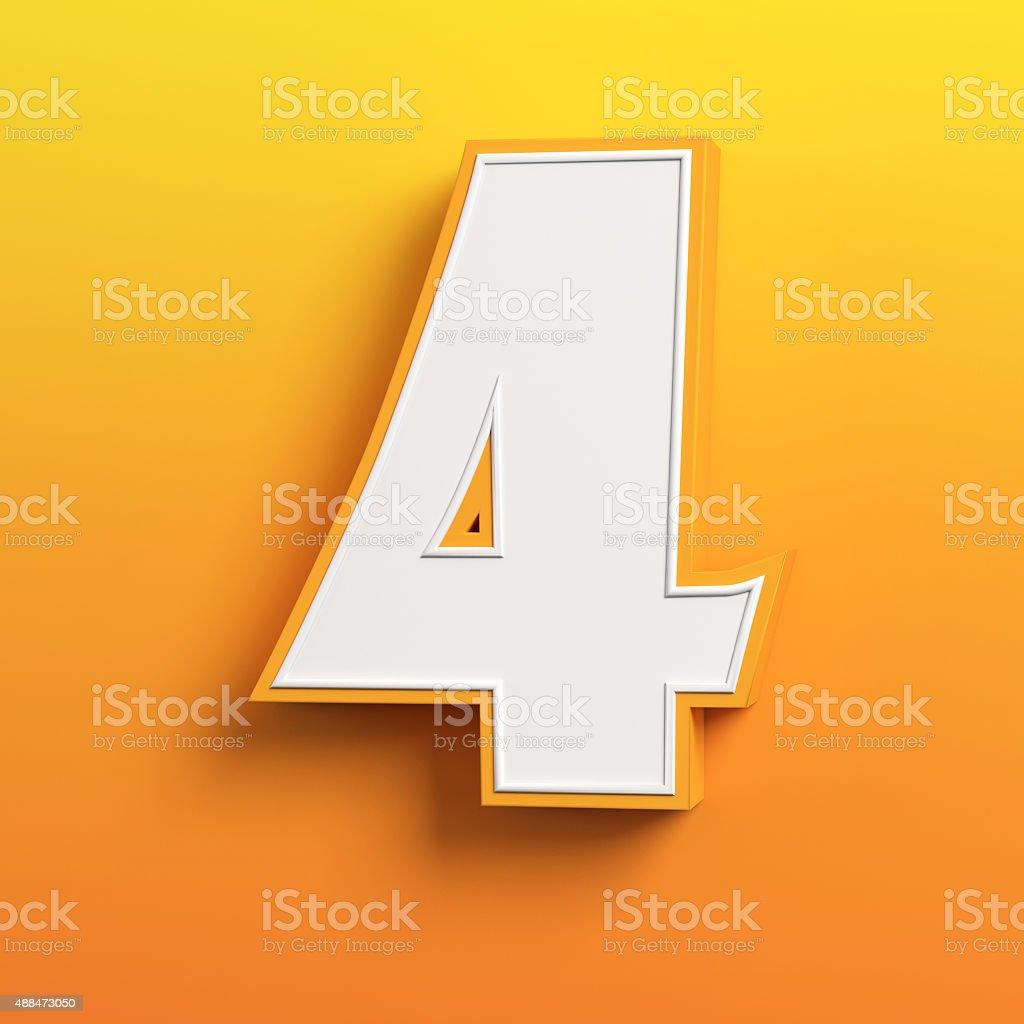 cartoon 3d font number 4 stock photo