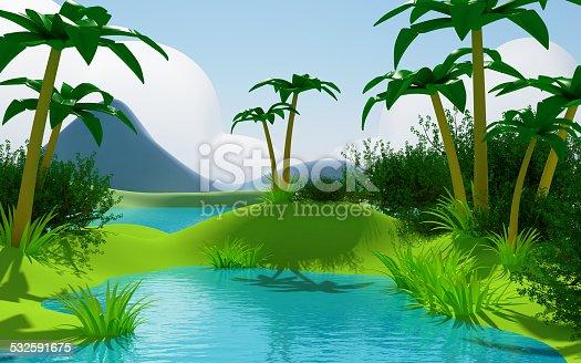 istock cartoon 3d tropical jungle landscape 532591675