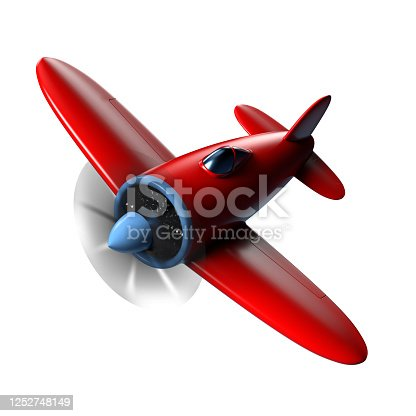 3d rendering of a cartoon style airplane on a white background.