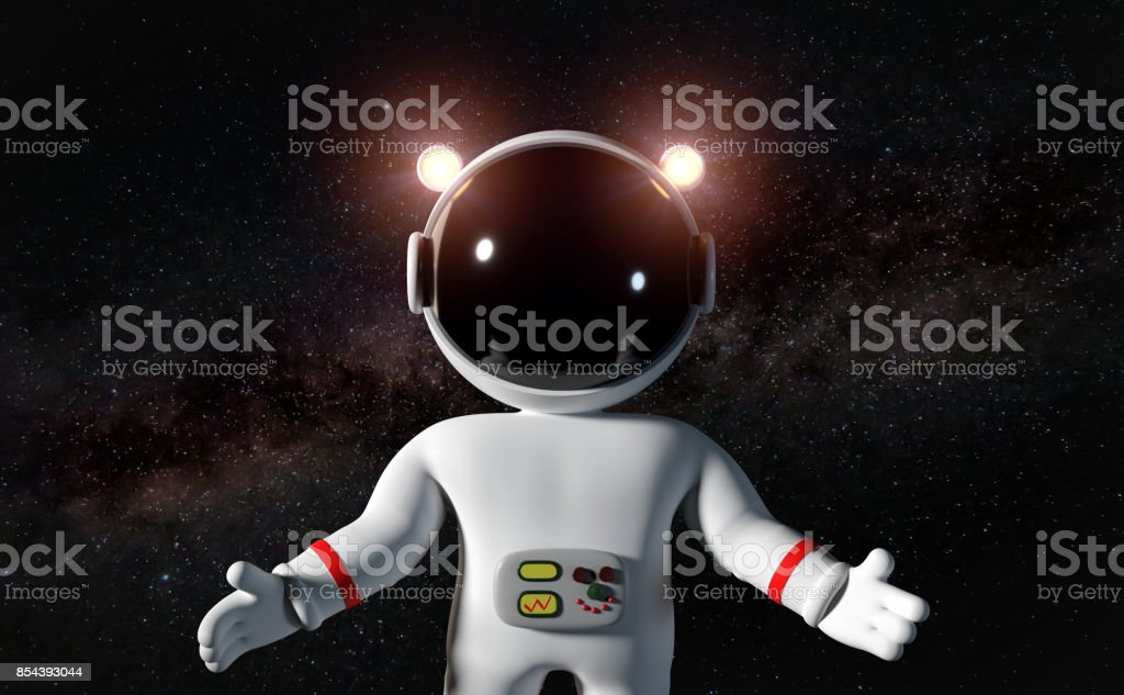 Cartoon Astronaut Character In White Space Suit Floating In Zero Gravity  Space Stock Photo - Download Image Now