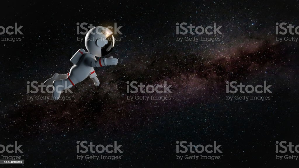 Cartoon Astronaut Character In White Space Suit Floating In Zero