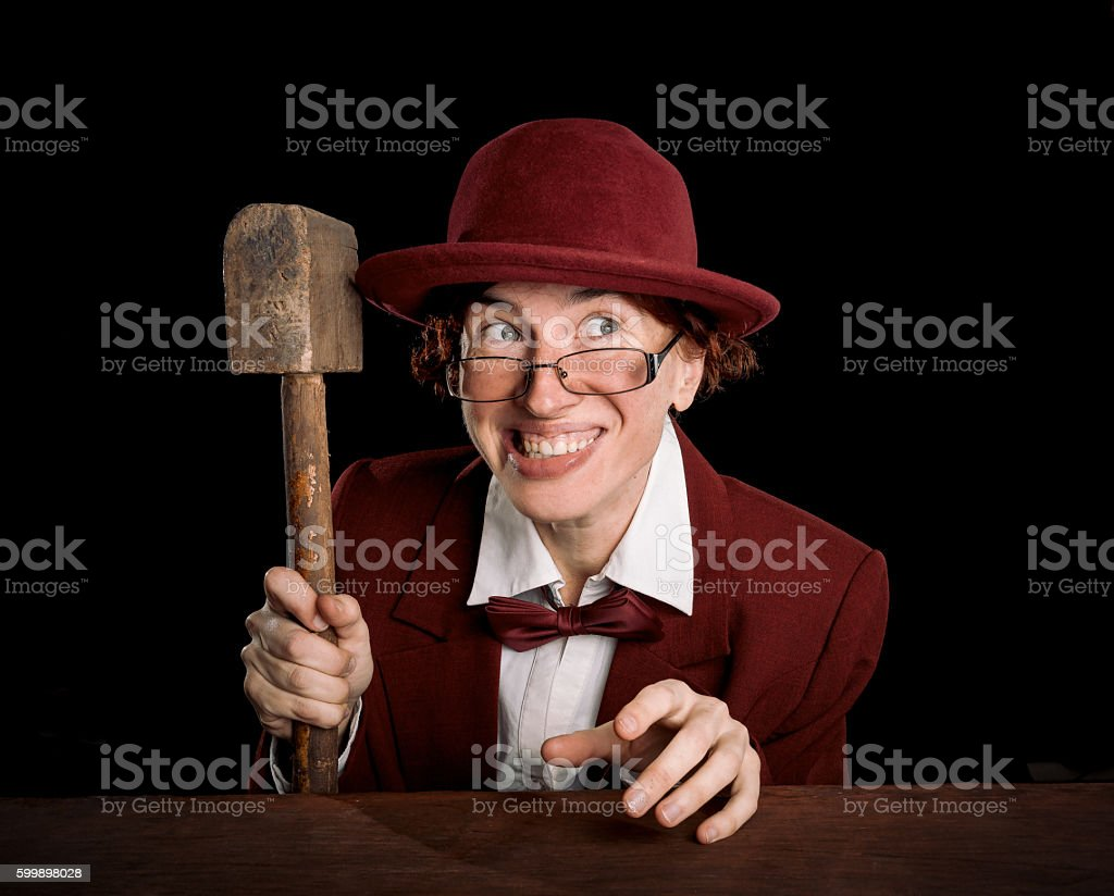 Cartoon auctioneer in red stock photo