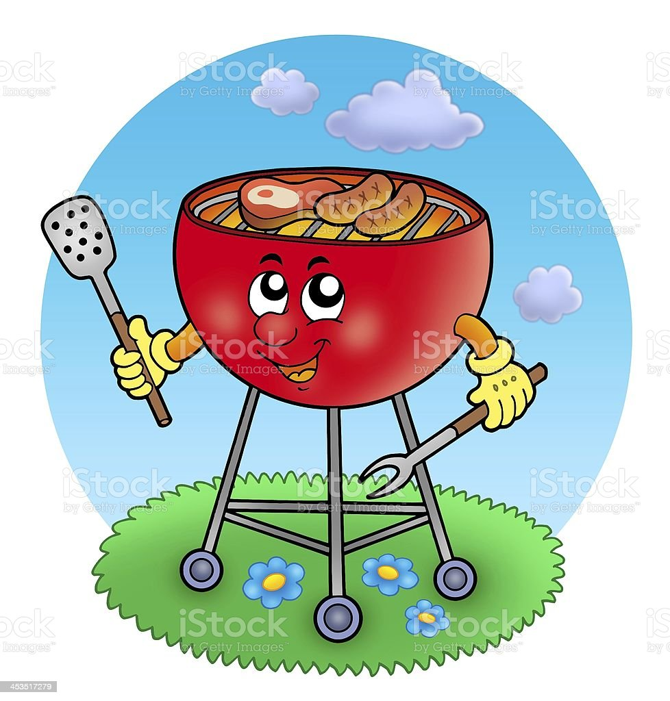 Cartoon barbeque in garden royalty-free stock photo