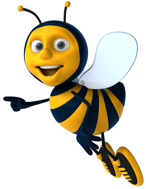 Cartoon bee smiling and pointing stock photo