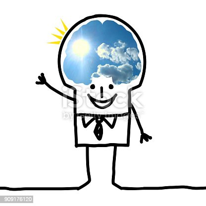 istock Cartoon Big Brain Man - blue sky and optimism 909176120