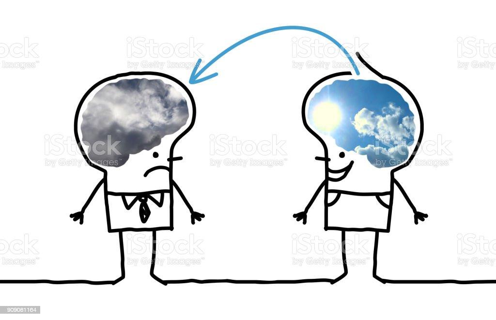 Cartoon grote hersenen Man - optimistisch en depressieve foto