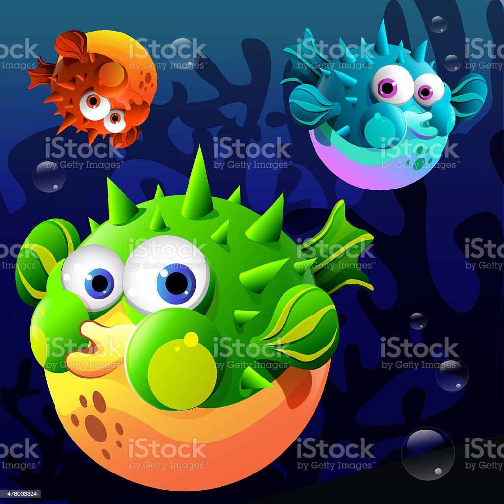 Cartoon blowfish stock photo