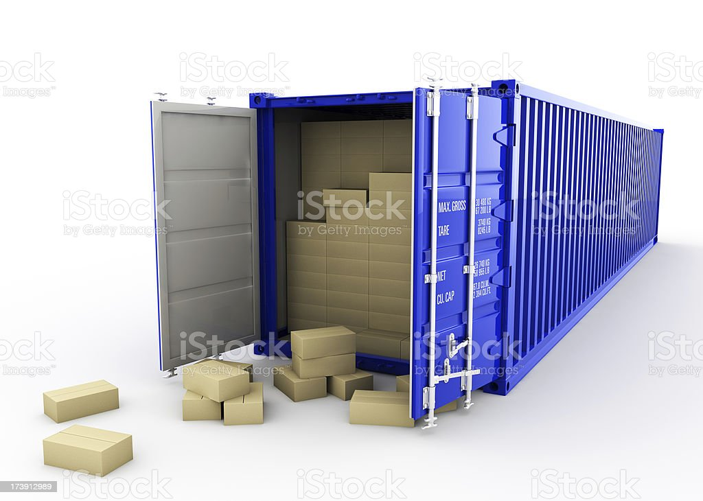 Cartoon boxes inside a blue shipping container royalty-free stock photo