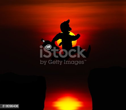 istock Cartoon Business concept, Man jumping over precipice 518096406