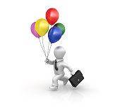 istock Cartoon Business Person Running with Multicolored Balloons - 3D Rendering 1225267782