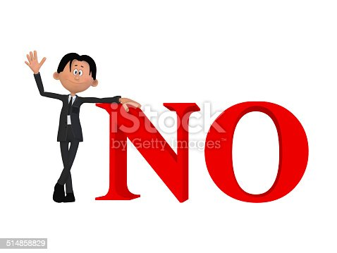 istock cartoon businessman with a NO 3d word 514858829
