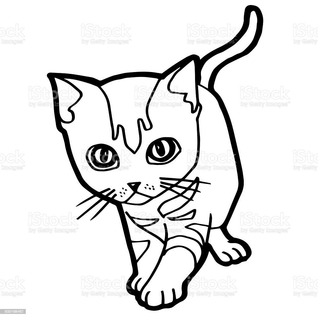 Coloriage Chat Blanc.Photo De Stock De Chat En Dessin Anime Livre De Coloriage Pour