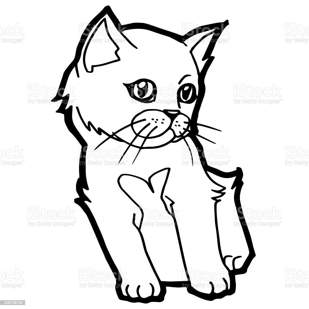 Fumetto Di Gatto Libro Da Colorare Per Bambini Isolato Su Bianco