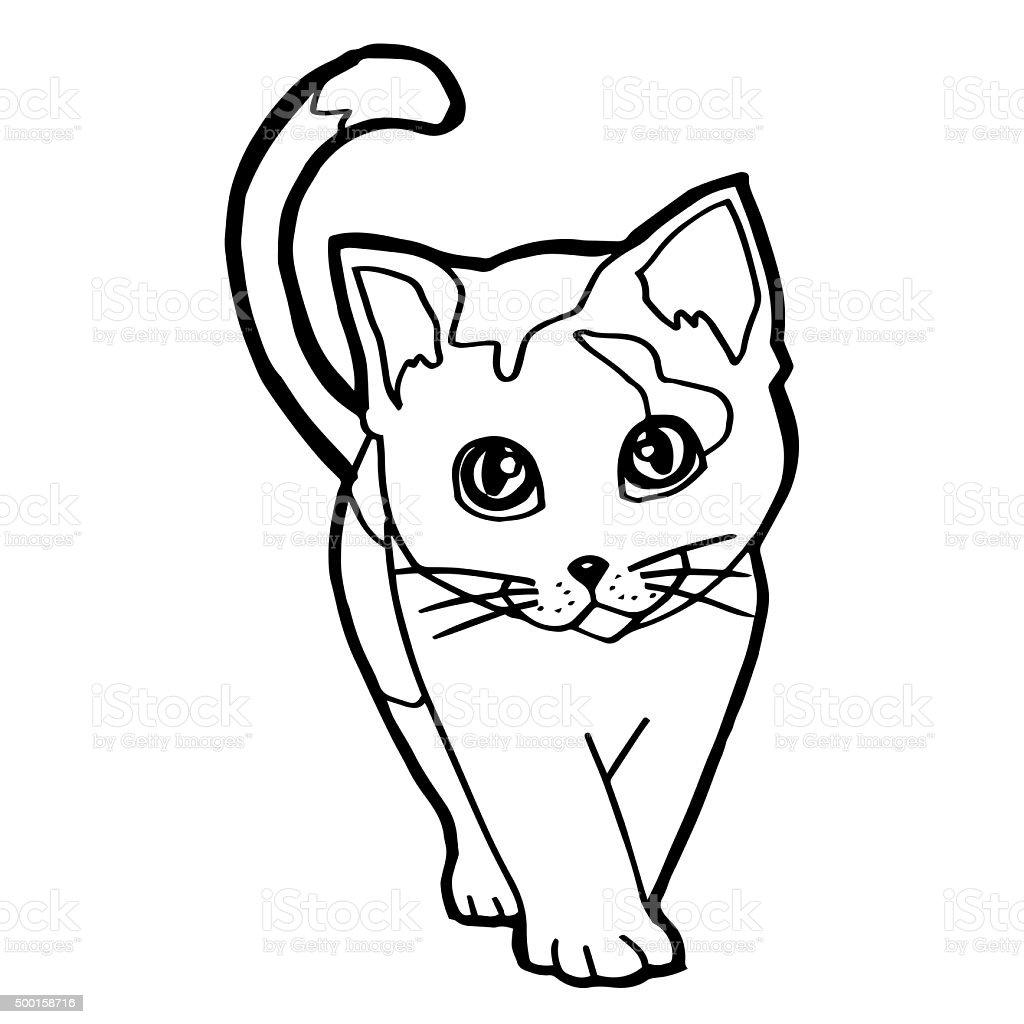 Fumetto Di Gatto Libro Da Colorare Per Bambini Isolato Su