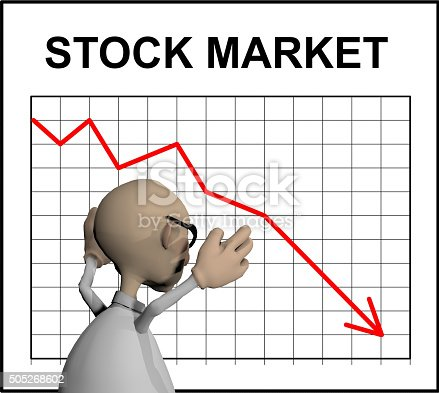 a rendered illustration of an upset cartoon character standing in front of a stock market chart showing a steep decline