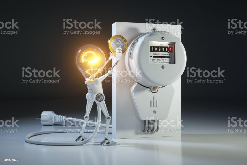 Cartoon character bulb light robot pays tariffs utility in kilowatt hour meter. stock photo