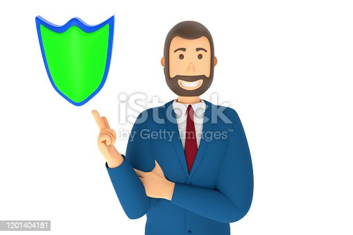 istock Cartoon character, businessman in suit with pointing finger at an shield. 3d rendering 1201404181
