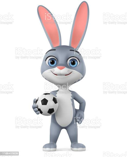 Cartoon character gray rabbit by a soccer ball on a white background picture id1166403839?b=1&k=6&m=1166403839&s=612x612&h=4gplc7qr ygxxblx8a57x go q9w4pwi2ktfyqcdw2y=