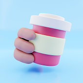 istock Cartoon character hand in suit holding coffee or tea cup over white background. 3d render illustration. 1339341587