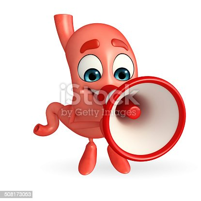 istock Cartoon Character of stomach with loudspeaker 508173053