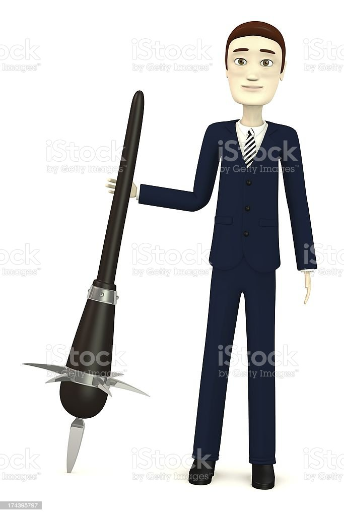 cartoon character with club royalty-free stock photo
