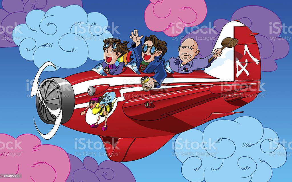 cartoon characters in a plane royalty-free stock photo