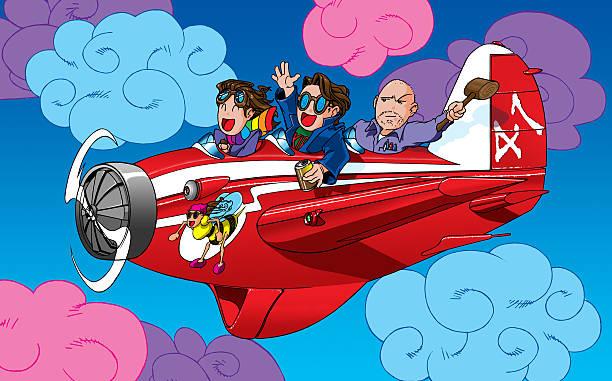 comic-figuren in einem flugzeug - niedlichen anime jungs stock-fotos und bilder