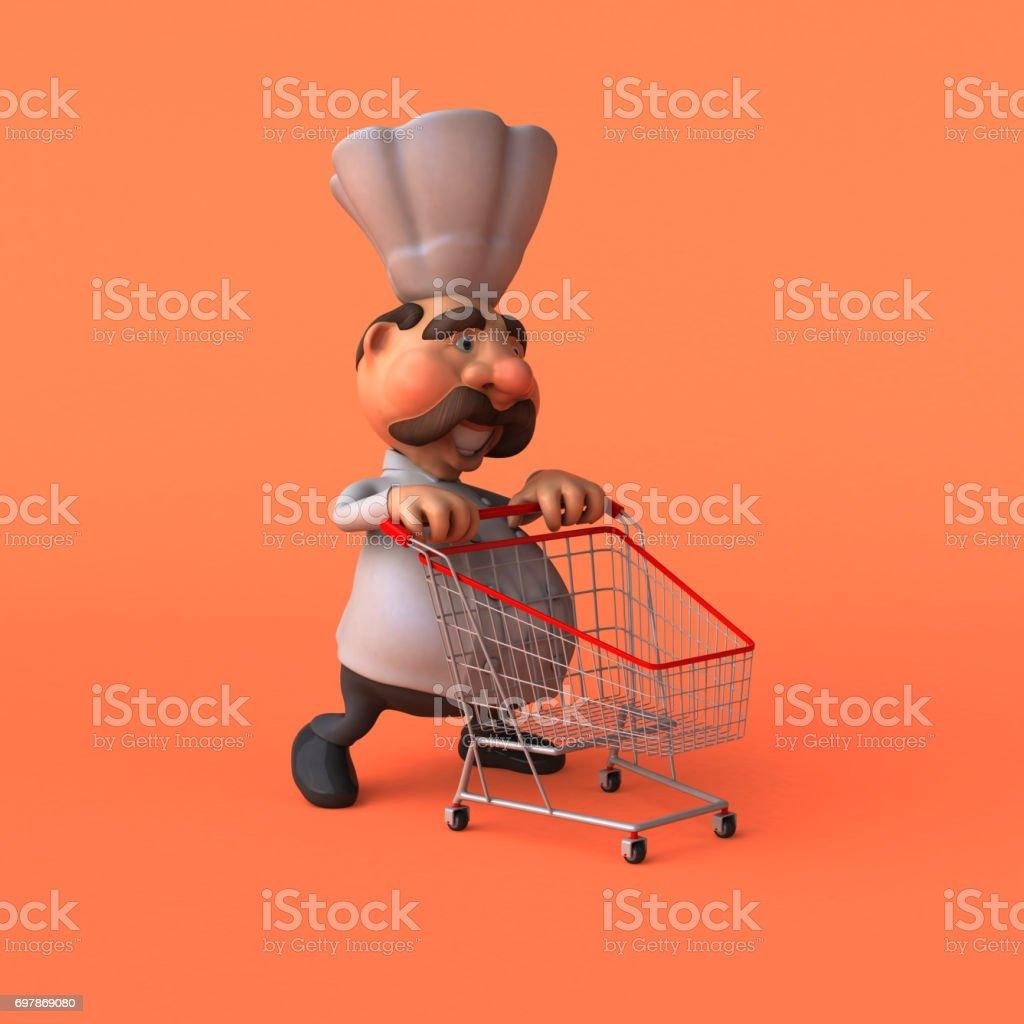 Cartoon chef - 3D Illustration stock photo