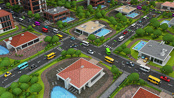 comic city square - bussystem haus stock-fotos und bilder