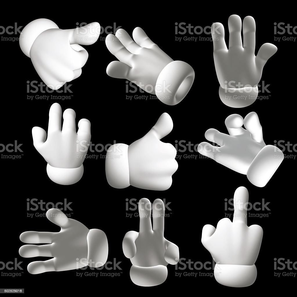 3D Cartoon collection hand shape on black background stock photo