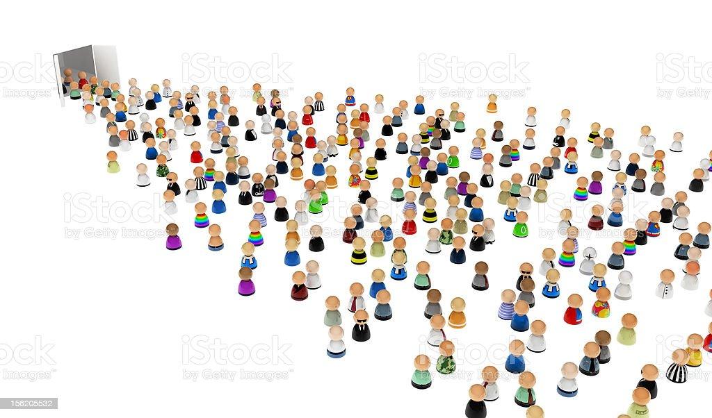 Cartoon Crowd, Doors in Emptiness stock photo
