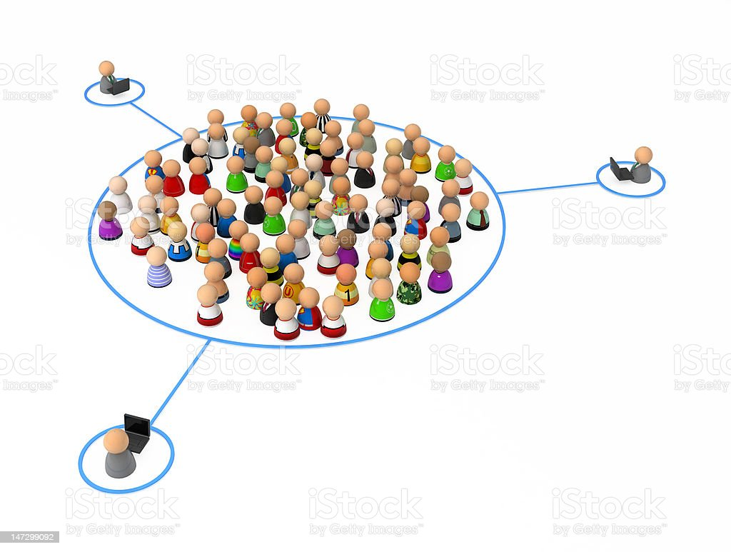 Cartoon Crowd, Group Link royalty-free stock photo