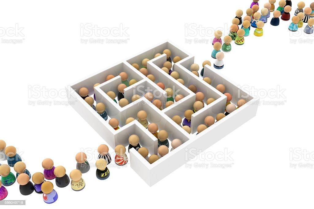 Cartoon Crowd, Labyrinth stock photo