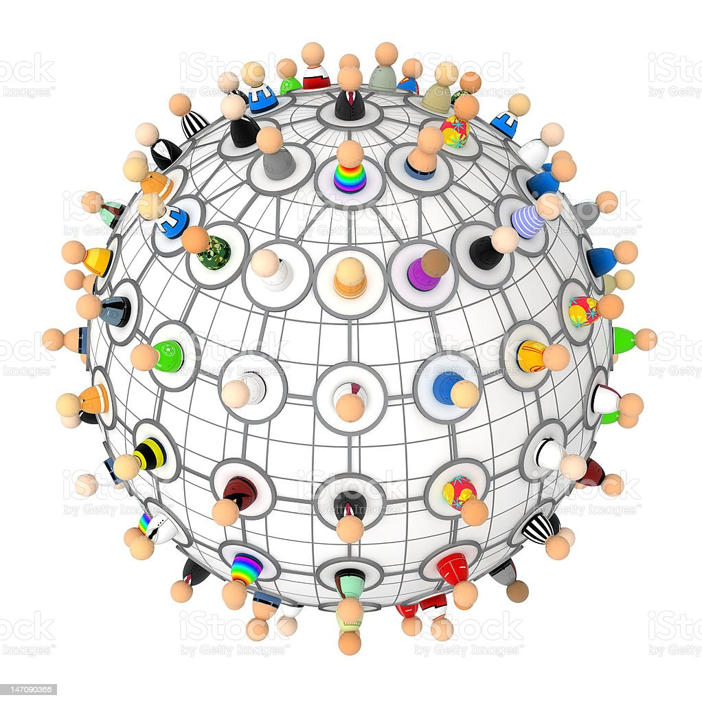 Cartoon Crowd, Link Plan Sphere stock photo