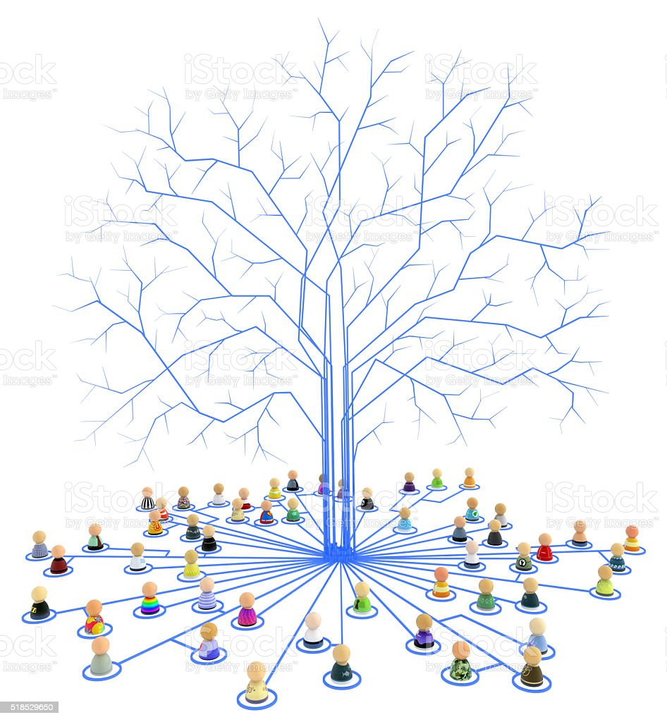 Cartoon Crowd, Link Tree Roots stock photo
