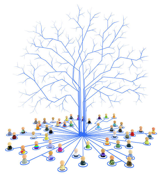 Cartoon Crowd, Link Tree Roots stock photo