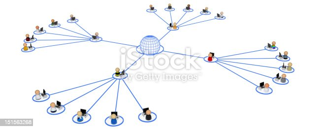 Crowd of small symbolic 3d computer user figures linked by lines, isolated