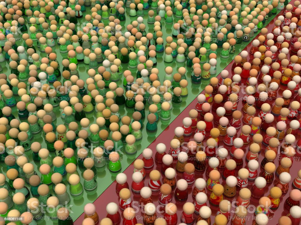 Cartoon Crowd, Red and Green stock photo