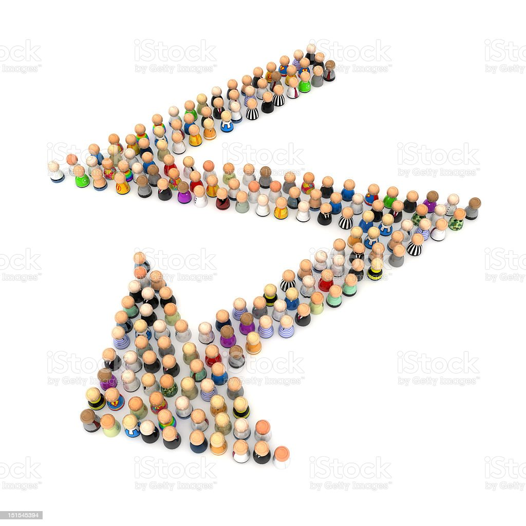 Cartoon Crowd, Zigzag Arrow royalty-free stock photo