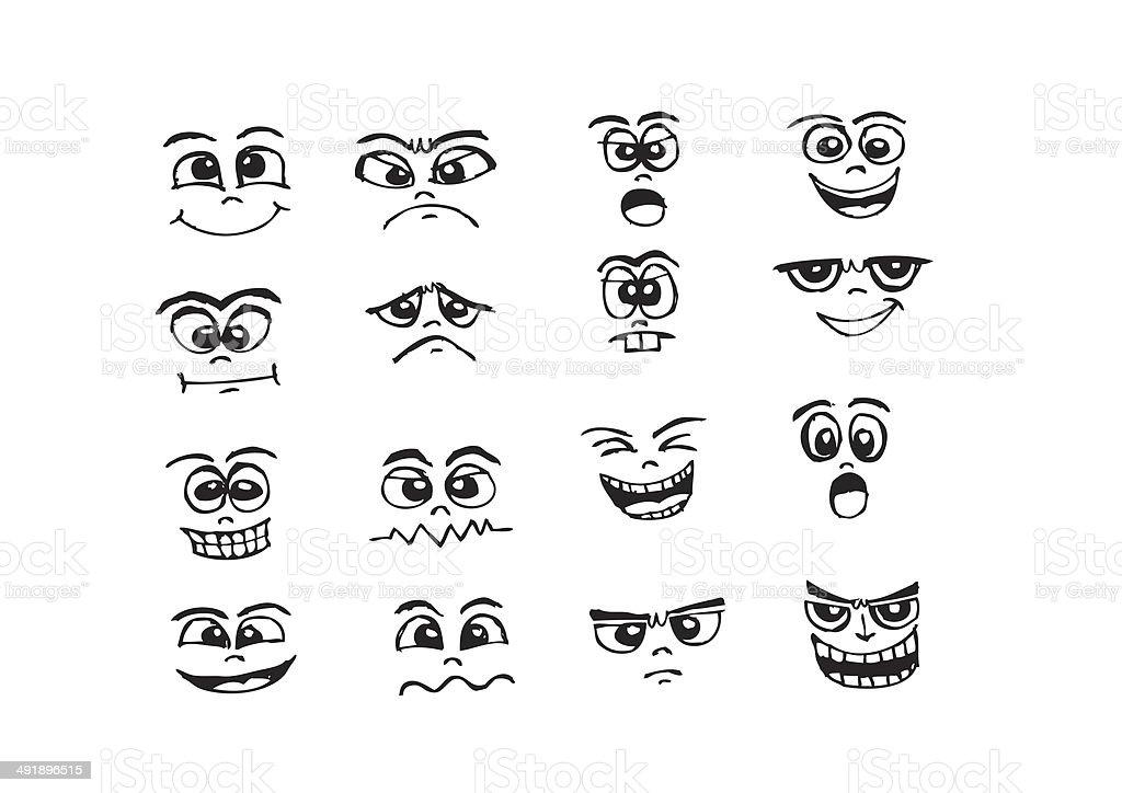 Caras De Dibujos Animados De La Mano Con El Dibujo De