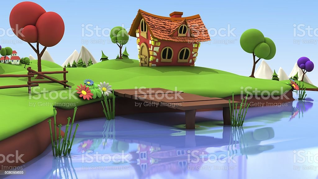 Cartoon Fishing Pond stock photo