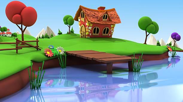 Cartoon Fishing Pond stock photo