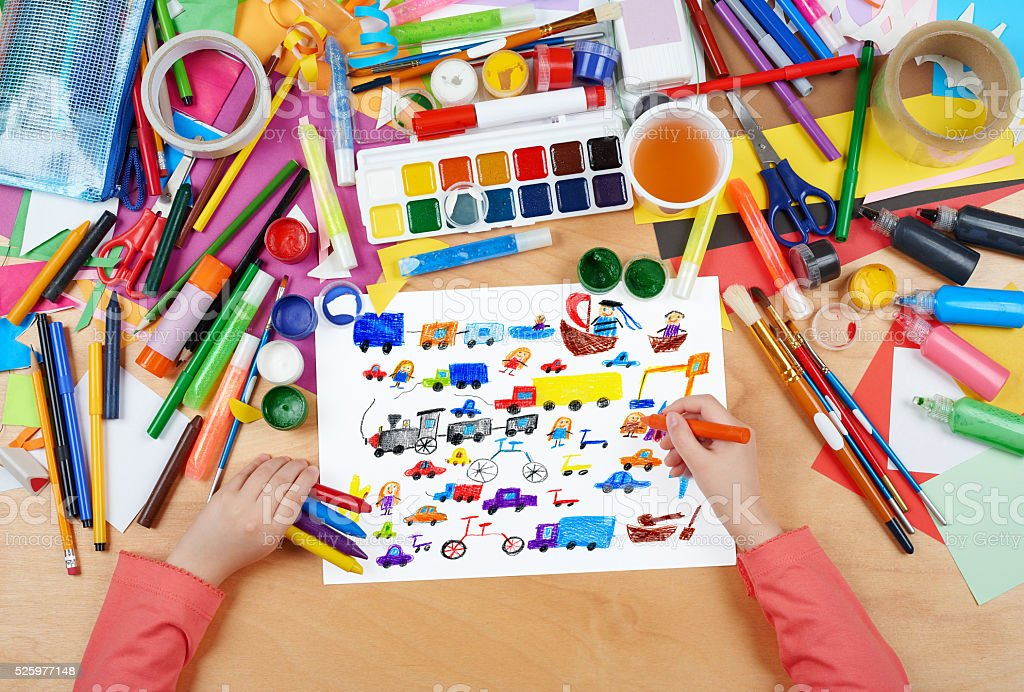 cartoon game toy and people collection child drawing stock photo