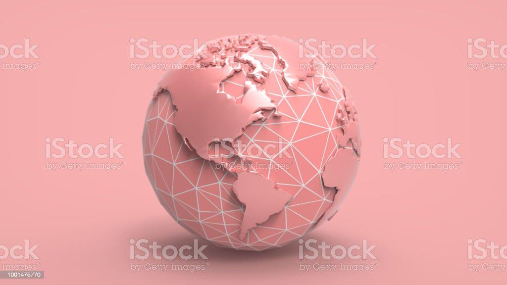 3D cartoon globe illustration on pastel BG stock photo
